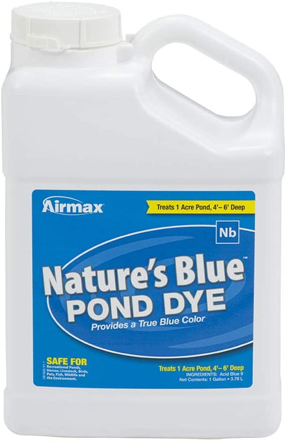 Airmax Nature's Blue Pond Dye Liquid Color, Add Shade & Protection, Enhance Natural Beauty, Safe for Fish, Wildlife, 1 Gallon