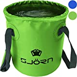 collapsible water bucket - Premium Compact Collapsible Bucket By SJORN - 10L or 15L Portable Folding Water Container - Lightweight & Durable - Includes Grab Handles - Best for Camping, Fishing & Outdoors Green 10L