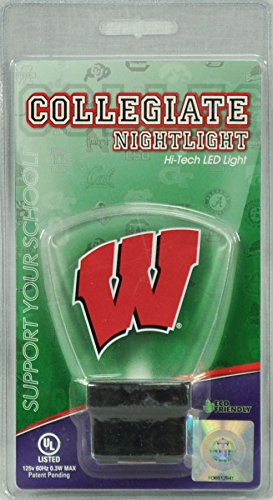 Authentic Street Signs Ncaa Officially Licensed Led Night Light Super Energy Efficient Prime Power Saving 0 5 Watt  Plug In Great Sports Fan Gift For Adults Babies Kids Room  Wisconsin Badgers