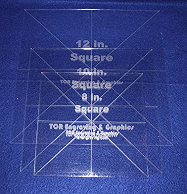 """3 Pc Square Set 8"""",10"""",12""""- 1/8"""" Clear Acrylic - Quilting Templates- No seam"""