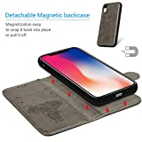 iPhone Xr Case, Mavis's Diary Two-in-One Separation Wallet Case Fashion Premium PU Leather Wallet Embossed Elephant Floral Flip Folio Shockproof Drop Resistant Case with Soft TPU Inner Cover - Gray