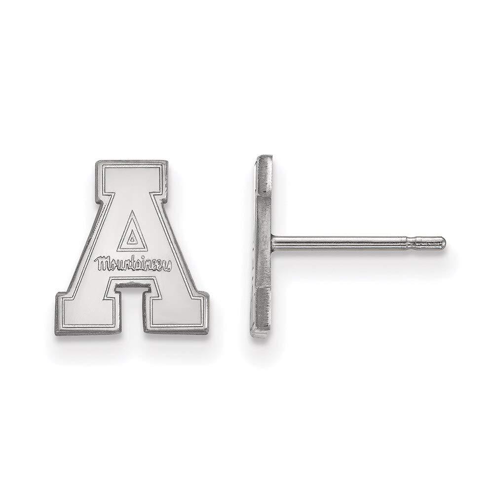 Lex /& Lu LogoArt 14k White Gold Appalachian State University XS Post Earrings