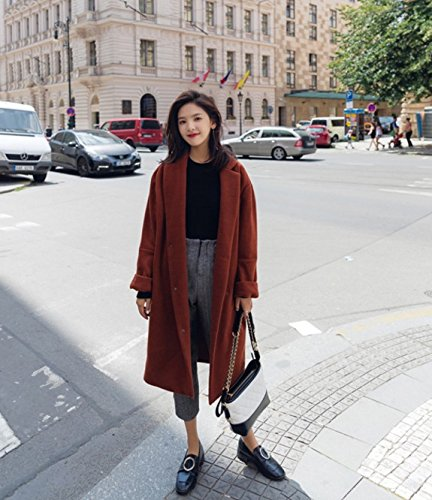Hair Colour Type Casual Color Jacket Loose Long Temperament Xuanku Caramel Coat Woolen Cocoon Winter caramel Woolen 4zwWPqIZ