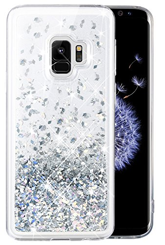Caka Galaxy S9 Case, Galaxy S9 Glitter Case Bling Flowing Floating Luxury Glitter Sparkle TPU Bumper Liquid Case for Samsung Galaxy S9 - (Silver)