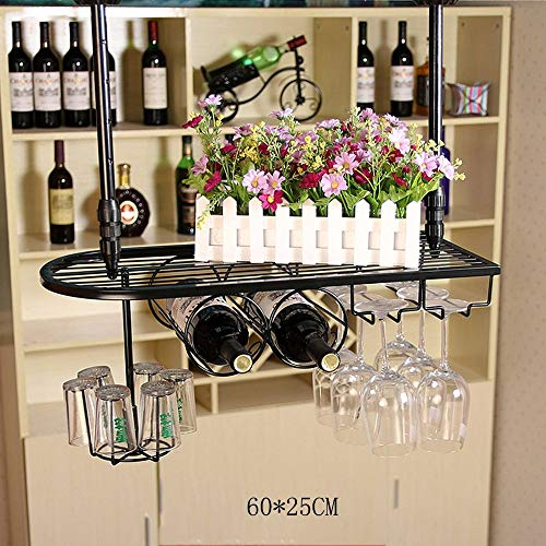 SED Household Wine Shelf Cup Holder- Wine Rack Upside Down Multifunction Storage Rack, Suspension Iron Art Simple, Round Square Red Wine Glass Holder (Adjustable Hanging Rod Length) Home Living Room