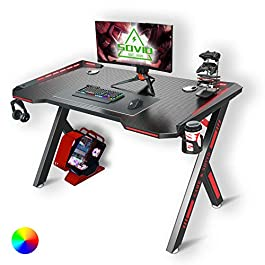 SOViD Gaming Desk with LED RGB Lights 47 Inch PC Computer Desk Y Shaped Gamer Setup Accessories for Sons' Gift Game…