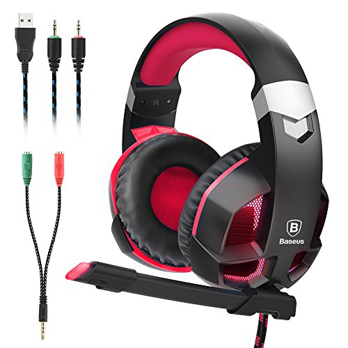 Baseus Gaming Headset for PS4, Nintendo Switch, PC, Noise Cancelling Over Ear Headphones Mic, LED Light, Soft Memory Earmuffs (Red)