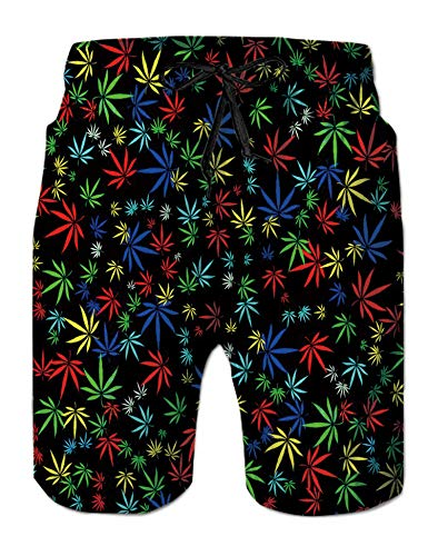 TUONROAD Youth Swimming Trunks Turquoise Yellow Marijuana Cannabis Hemp Leaves Retro Vintage Swim Shorts Cool Board Shorts Adjustable Surf Shorts for Big Boys Mens Dad Gift