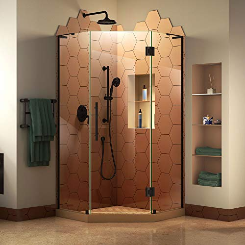 Neo Angle Shower Unit - DreamLine Prism Plus 34 in. x 72 in. Frameless Neo-Angle Hinged Shower Enclosure in Satin Black