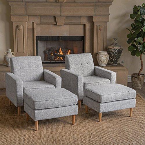 Christopher Knight Home 302592 Samuel Mid Century Modern Light Grey Tweed Fabric Club Chair and Ottoman Set (Set of 2),