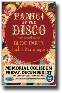 Panic at The Disco Poster - - 11 x 17 Concert Promo w/ Bloc Party and Jack's Mannequin Mem