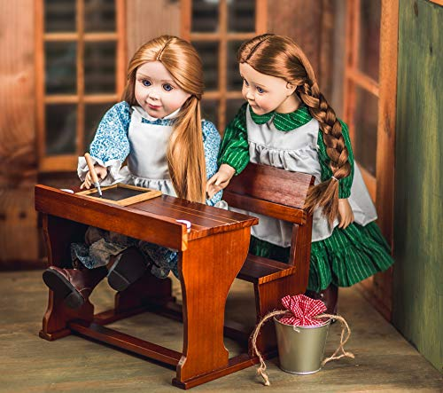 Officially Licensed Little House on The Praiie Antique Style School Desk with 2 Ink Bottles & Ink Pens fits 3 18 Inch Dolls Fits 2 American Girl Dolls