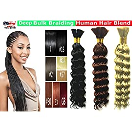 Deep Bulk Braiding Hair, Human Hair blend, Micro Braids, Hot Selling, Length 18″, 2 PACKS Color #2 Dark Brown