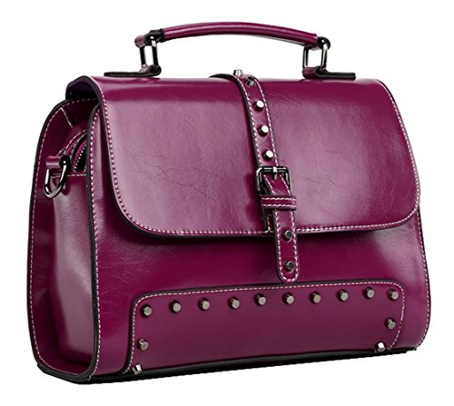 SAIERLONG Frauen Tote Einzel-Schultertasche Handtasche Pink Kuh-Leder Lila 2p8Vq