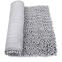 "HomDSim 30"" x 20"" Non slip Chenille Bathroom Bath Shower Rugs Mat Carpet Floor Plush Absorbent Luxury Microfiber Bristles Soft Shaggy Washable Surface Textured"