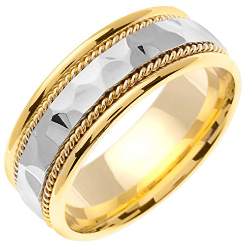 14k Gold Flat Edge (14K Two Tone Gold Braided Rope Edge Men's Hammered Finish Comfort Fit Wedding Band (7.5mm) Size-9c1)