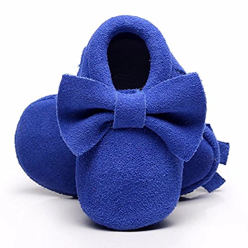 MEGNYA Leather Baby Moccasins Hard Soled Tassel Crib Toddler Shoes for Boys and Girls,ZH0082-Blue-12.5