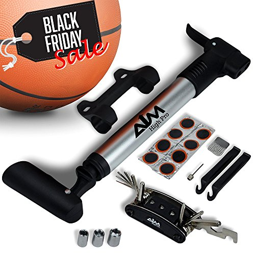 High Pressure Mini Pump For All Type Of Tires - Presta/ Schrader. Inflate MTB/ Road /City Bike, Ball and Stroller. Frame Mount Pump + Full Set:Multi tool, Puncture Repair Kit, Ball Needle, Tire Lever.