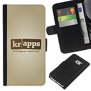 For Samsung Galaxy S6 EDGE Case , App Smartphone Name Company - la tarjeta de Crédito Slots PU Funda de cuero Monedero caso cubierta de piel