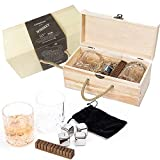Clydescot SKYE - 9pcs Whiskey gift Set with whisky tumblers 230ml + Scorched smoked oak whiskey flavoring stick + Beautiful Hand Crafted Wooden Gift box