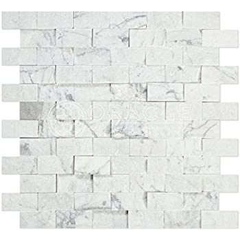 Carrara White Italian Bianco Carrara Marble 1 X 2 Brick Mosaic Tile Split Faced