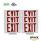 Ainfox LED Exit Sign Emergency Wall Light, Back -up Letter Cover (red/6pack)