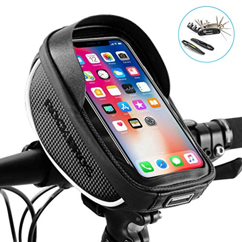 ROCK BROS Bike Phone Bag Bicycle Phone Mount Bag Waterproof Handlebar Bike Phone Case Holder Sensitive Touch Screen Phone Compatible with iPhone X XS Max XR 8 7 Plus Below 6.5″ with Repair Tool Kit