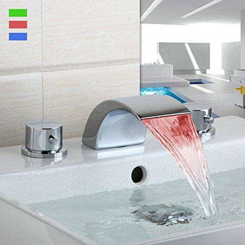Miefocit Modern Bathroom LED Waterfall Faucet Bathtub Widespread Basin Sink Mixer Tap Double Handles Faucet Set by Miefocit