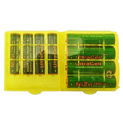 UltraCell Plus NiZn 1.6v AA - 2800mWh, AAA - 1150mWH High Voltage Rechargeable Batteries With Battery Storage Box (Combo for 4pcs AA, 4pcs AAA, 2pcs Yellow Battery Boxes)