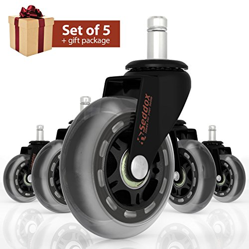Office Chair Caster Wheels Set of 5 for ALL TYPES OF FLOORING - GIFT PACKAGE of 3'' Heavy Duty Replacement Rollerblade Rubber Chair Casters - Best Protection for Your Hardwood Floors