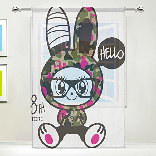 LEISISI Cute Camo Rabbit Print Tulle Voile Door Window Room Sheer Curtain Drape 1 Panel Scarf Valances Wide Width Gauze Curtain for Bedroom Single panel 55x78(inch)]()
