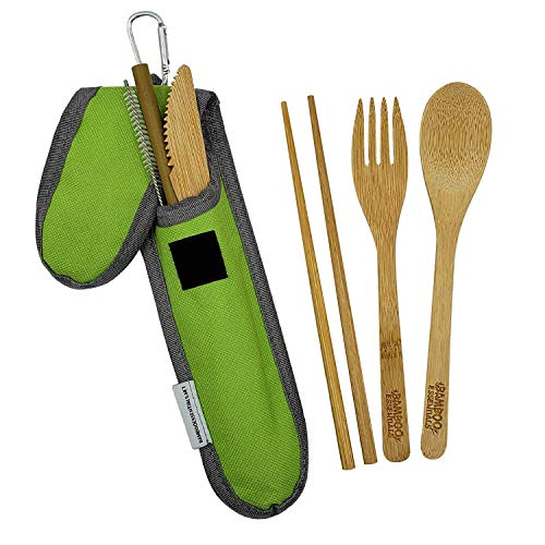 Bamboo Travel Utensil Set Summer Green | Bamboo Fork, Knife, Spoon, Chopsticks, Straw, Straw-cleaning brush, Travel Pouch and Carabiner | Excellent For Everyday Use!
