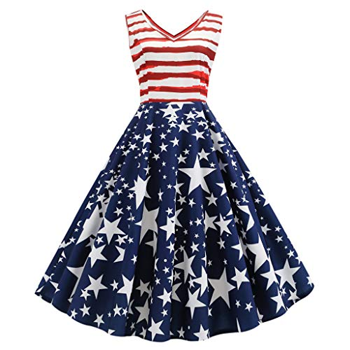 FRENDLY Women Vintage Sleeveless V Neck Skirt Printing Evening Party Swing Dress Fashion Star Stripe Mini Dress