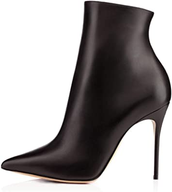 Pointed Toe High Heel Ankle Boots Zip