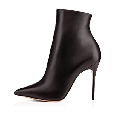 a47d12c390338 Sammitop Women s Pointed Toe High Heel Ankle Boots Side Zipper Fashion Stiletto  Booties Black US5