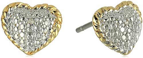 Two-Tone Diamond Accent Heart Stud Earrings with Yellow Gold Overlay