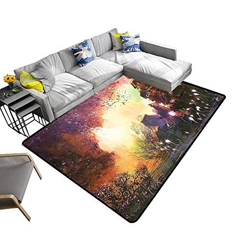 (Silky Smooth Bedroom Mats Aband ed Medieval Castle Old Ghosts Halloween Spooky Mauve Yellow Waterproof and Easy Clean 6' X)