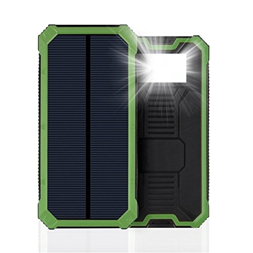 Solar Charger, IYUT 15000mAh Dual USB Port External Phone Battery Pack Solar Power Bank Charger Waterproof with LED Emergency Light for iPhone, iPad, Samsung, Laptops, Cell Phones (Green)