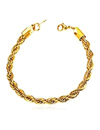 Stainless Steel/Black Gun/18K Gold Plated Twisted Rope Chain Bracelet - 8.3 Inch,3 Width:3mm,6mm,9mm