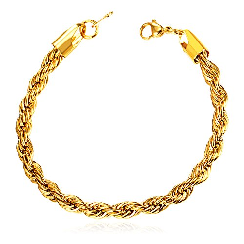 Gold Link Rope (3mm 18K Gold Plated Twisted Rope Chain Bracelet)