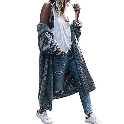 Shirred Knit Dress (Hot Trendy, Kshion Women's Autumn Winter Knit Coats Solid Long Bat Sleeve Cardigan Jacket Sweater Loose Thick Coat (Gray, L))