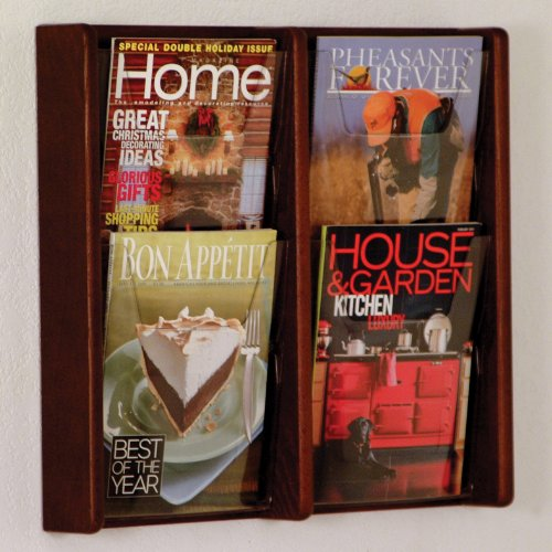 DMD Literature Display, 4 Pocket, Solid Oak and Acrylic Wall Mount Rack, Mahogany Wood Finish