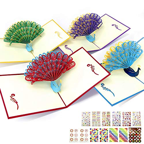 Initial Heart Pop Up Cards | 3D Greeting Cards for All Occasions | Peacock Greeting Cards | Thank You Teacher Cards Envelope Included | Birthday for Sister, Mom, Wife, Kids (Multicolored)