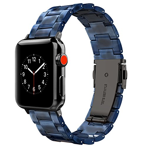 Wearlizer Black Blue Compatible with Apple Watch Band 42mm 44mm Mens iWatch Lightweight Resin Wristbands Unique Sport Strap Cool Womens Replacement Bracelet with Metal Steel Clasp Series 4 3 2 - Care Tortoise Shell