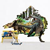 Home Decor Wall Sticker 3D Dinosaur Removable Room Decor Wall Decals Dinosaur World for Kids Boys Girls, 23.6 x 35.4 Inch