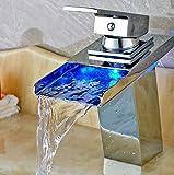 freeze plug puller - Modern Square LED Spout Bathroom Basin Faucet Square Deck Mounted Mixer Tap