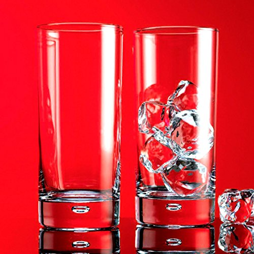 Base Glass Highball - Home Essentials Red Series Bubble 17oz Highball Glass, Set of 4