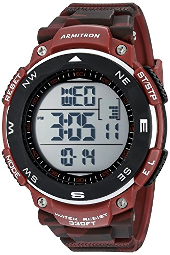 (Armitron Men's 40/8254CRD Digital Chronograph Black and Red Camouflage Resin Strap Watch)