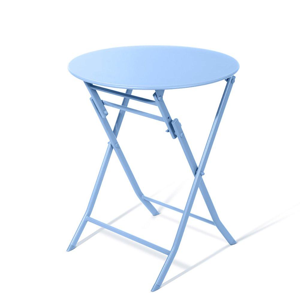 折り畳みテーブル& アイロンアートCollapsible家庭用ポータブル円形バルコニー小さなテーブル屋外屋内ラップトップテーブル (色 : 青) B07DZG7PXW 青 青