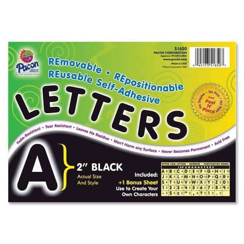 Pacon Self-Adhesive Removable Letters,159 Character - 2'' - Black